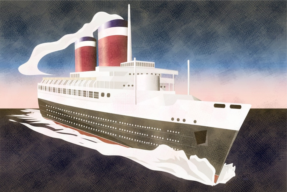 SS United States foreshortened angle grfx new silverpoint crosshatch